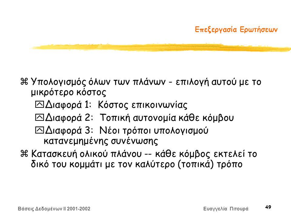 Βάσεις Δεδομένων II 2001-2002 Ευαγγελία Πιτουρά 49 Επεξεργασία Ερωτήσεων zΥπολογισμός όλων των πλάνων - επιλογή αυτού με το μικρότερο κόστος yΔιαφορά 1: Κόστος επικοινωνίας yΔιαφορά 2: Τοπική αυτονομία κάθε κόμβου yΔιαφορά 3: Νέοι τρόποι υπολογισμού κατανεμημένης συνένωσης zΚατασκευή ολικού πλάνου -- κάθε κόμβος εκτελεί το δικό του κομμάτι με τον καλύτερο (τοπικά) τρόπο