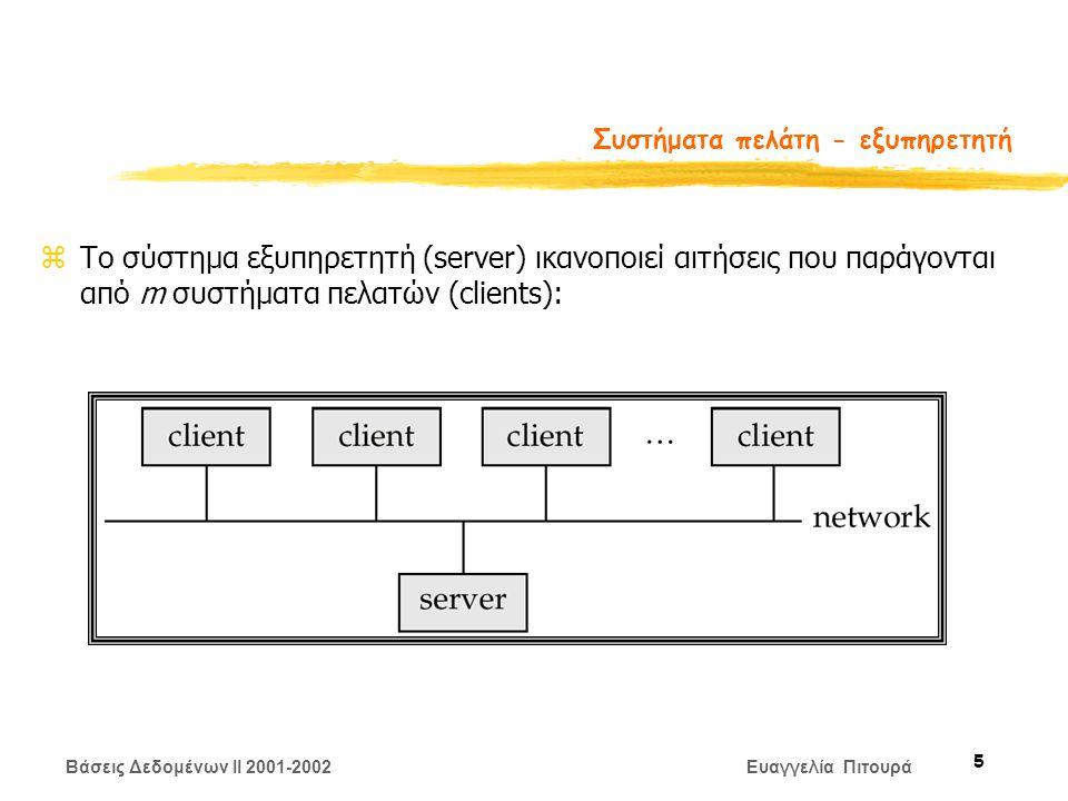 Βάσεις Δεδομένων II 2001-2002 Ευαγγελία Πιτουρά 5 Συστήματα πελάτη - εξυπηρετητή zΤο σύστημα εξυπηρετητή (server) ικανοποιεί αιτήσεις που παράγονται από m συστήματα πελατών (clients):