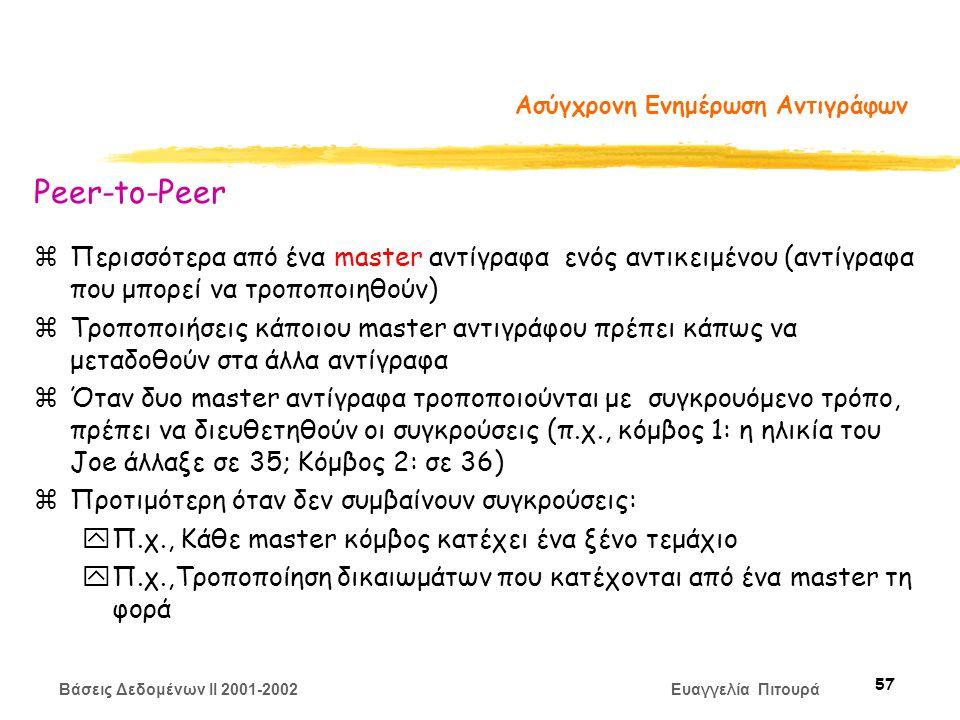 Βάσεις Δεδομένων II 2001-2002 Ευαγγελία Πιτουρά 57 Ασύγχρονη Ενημέρωση Αντιγράφων Peer-to-Peer zΠερισσότερα από ένα master αντίγραφα ενός αντικειμένου (αντίγραφα που μπορεί να τροποποιηθούν) zΤροποποιήσεις κάποιου master αντιγράφου πρέπει κάπως να μεταδοθούν στα άλλα αντίγραφα zΌταν δυο master αντίγραφα τροποποιούνται με συγκρουόμενο τρόπο, πρέπει να διευθετηθούν οι συγκρούσεις (π.χ., κόμβος 1: η ηλικία του Joe άλλαξε σε 35; Κόμβος 2: σε 36) zΠροτιμότερη όταν δεν συμβαίνουν συγκρούσεις: yΠ.χ., Κάθε master κόμβος κατέχει ένα ξένο τεμάχιο yΠ.χ.,Τροποποίηση δικαιωμάτων που κατέχονται από ένα master τη φορά