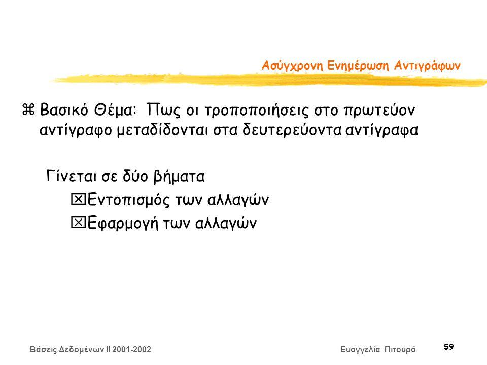 Βάσεις Δεδομένων II 2001-2002 Ευαγγελία Πιτουρά 59 Ασύγχρονη Ενημέρωση Αντιγράφων zΒασικό Θέμα: Πως οι τροποποιήσεις στο πρωτεύον αντίγραφο μεταδίδονται στα δευτερεύοντα αντίγραφα Γίνεται σε δύο βήματα xΕντοπισμός των αλλαγών xΕφαρμογή των αλλαγών