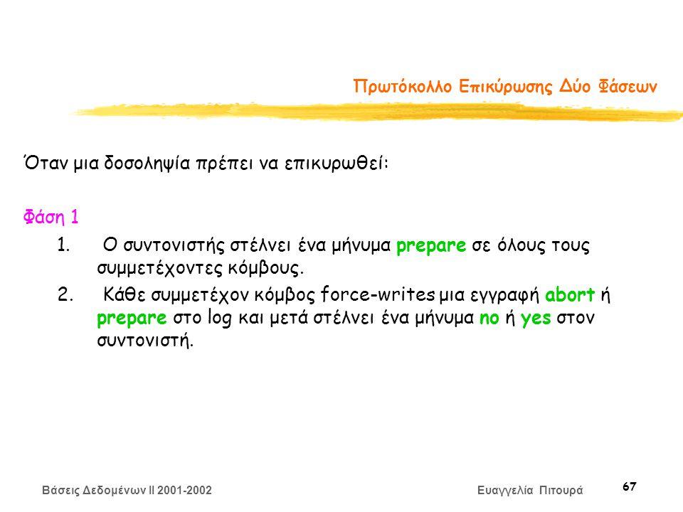 Βάσεις Δεδομένων II 2001-2002 Ευαγγελία Πιτουρά 67 Πρωτόκολλο Επικύρωσης Δύο Φάσεων Όταν μια δοσοληψία πρέπει να επικυρωθεί: Φάση 1 1.