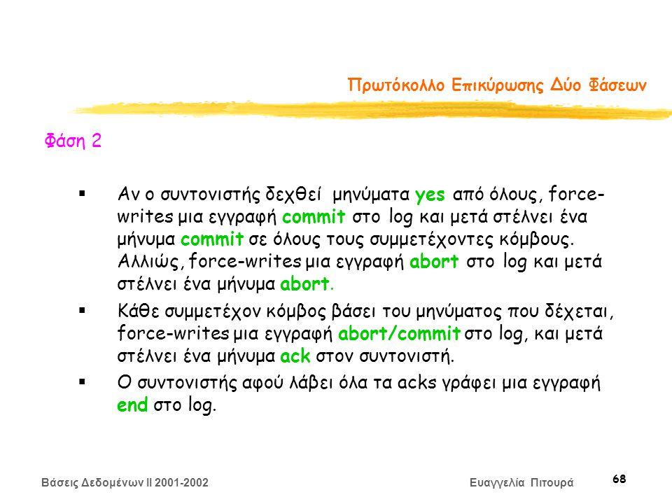 Βάσεις Δεδομένων II 2001-2002 Ευαγγελία Πιτουρά 68 Πρωτόκολλο Επικύρωσης Δύο Φάσεων Φάση 2  Αν ο συντονιστής δεχθεί μηνύματα yes από όλους, force- writes μια εγγραφή commit στο log και μετά στέλνει ένα μήνυμα commit σε όλους τους συμμετέχοντες κόμβους.