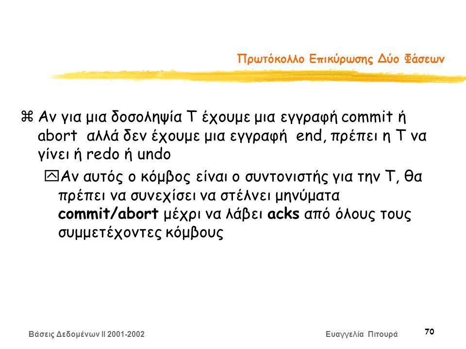 Βάσεις Δεδομένων II 2001-2002 Ευαγγελία Πιτουρά 70 Πρωτόκολλο Επικύρωσης Δύο Φάσεων zΑν για μια δοσοληψία Τ έχουμε μια εγγραφή commit ή abort αλλά δεν έχουμε μια εγγραφή end, πρέπει η Τ να γίνει ή redo ή undo yΑν αυτός ο κόμβος είναι ο συντονιστής για την T, θα πρέπει να συνεχίσει να στέλνει μηνύματα commit/abort μέχρι να λάβει acks από όλους τους συμμετέχοντες κόμβους