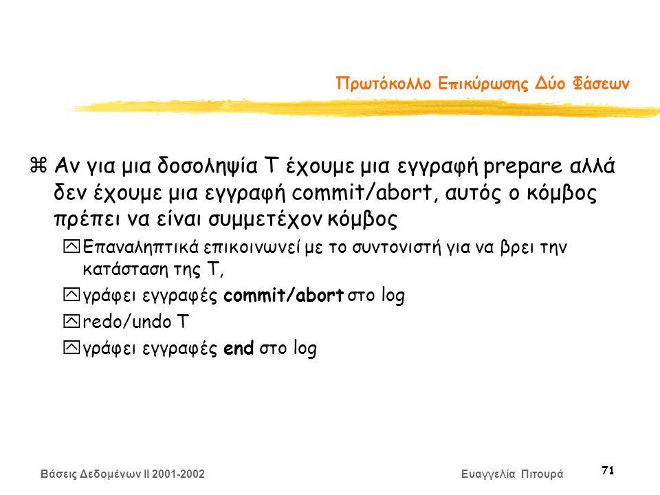 Βάσεις Δεδομένων II 2001-2002 Ευαγγελία Πιτουρά 71 Πρωτόκολλο Επικύρωσης Δύο Φάσεων zΑν για μια δοσοληψία Τ έχουμε μια εγγραφή prepare αλλά δεν έχουμε μια εγγραφή commit/abort, αυτός ο κόμβος πρέπει να είναι συμμετέχον κόμβος yΕπαναληπτικά επικοινωνεί με το συντονιστή για να βρει την κατάσταση της Τ, yγράφει εγγραφές commit/abort στο log yredo/undo T yγράφει εγγραφές end στο log
