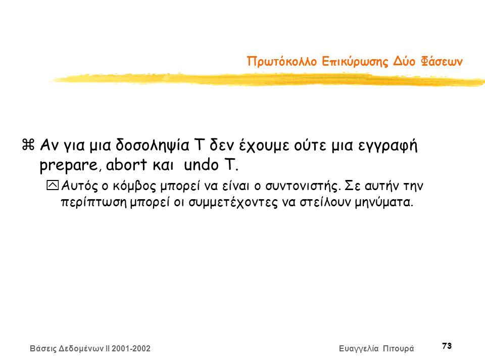 Βάσεις Δεδομένων II 2001-2002 Ευαγγελία Πιτουρά 73 Πρωτόκολλο Επικύρωσης Δύο Φάσεων zΑν για μια δοσοληψία Τ δεν έχουμε ούτε μια εγγραφή prepare, abort και undo T.