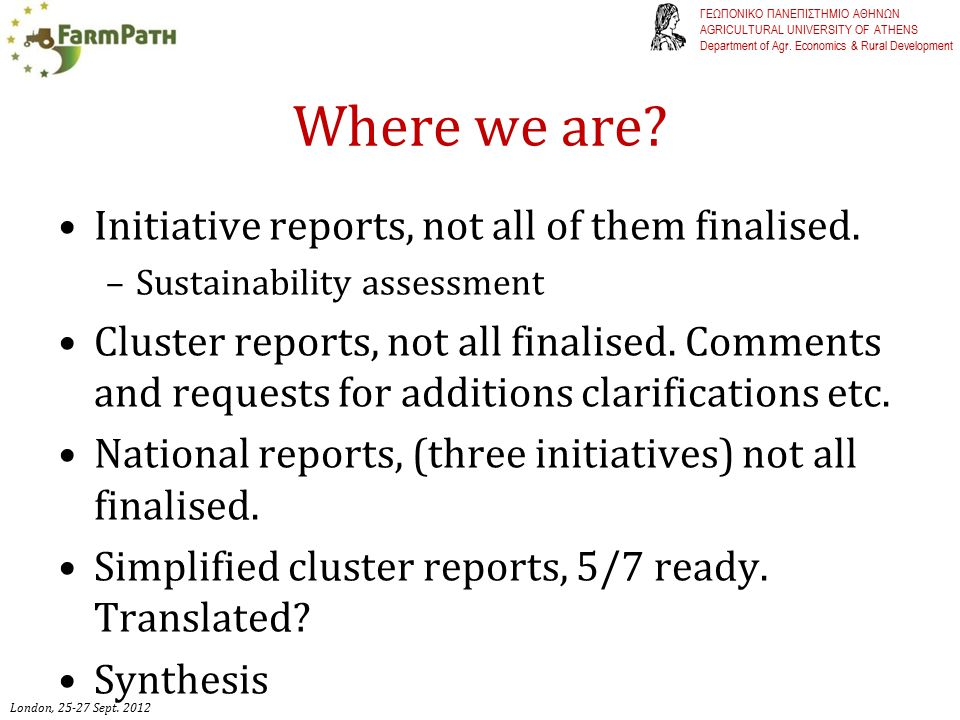 Continuation The initiative reports contain valuable information that can be analysed independently.