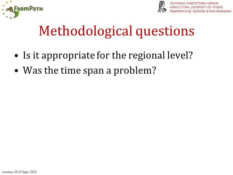 Methodological questions Is it appropriate for the regional level.