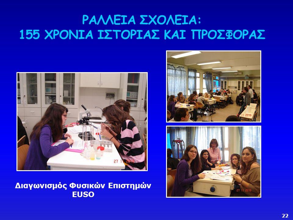 ΡΑΛΛΕΙΑ ΣΧΟΛΕΙΑ: 155 ΧΡΟΝΙΑ ΙΣΤΟΡΙΑΣ ΚΑΙ ΠΡΟΣΦΟΡΑΣ Διαγωνισμός Φυσικών Επιστημών EUSO 22