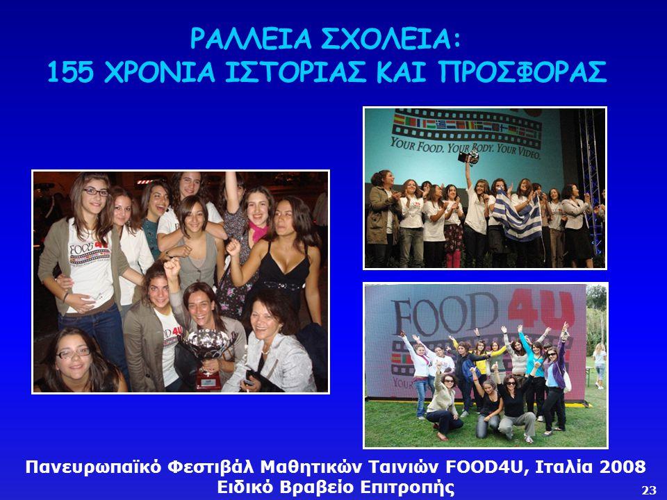 ΡΑΛΛΕΙΑ ΣΧΟΛΕΙΑ: 155 ΧΡΟΝΙΑ ΙΣΤΟΡΙΑΣ ΚΑΙ ΠΡΟΣΦΟΡΑΣ Πανευρωπαϊκό Φεστιβάλ Μαθητικών Ταινιών FOOD4U, Ιταλία 2008 Ειδικό Βραβείο Επιτροπής 23