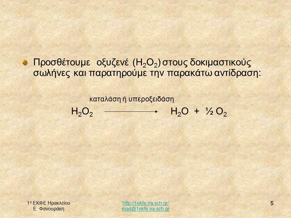 1 ο ΕΚΦΕ Ηρακλείου Ε. Φανουράκη http://1ekfe.ira.sch.gr/ mail@1ekfe.ira.sch.gr 5 Προσθέτουμε οξυζενέ (Η 2 Ο 2 ) στους δοκιμαστικούς σωλήνες και παρατη