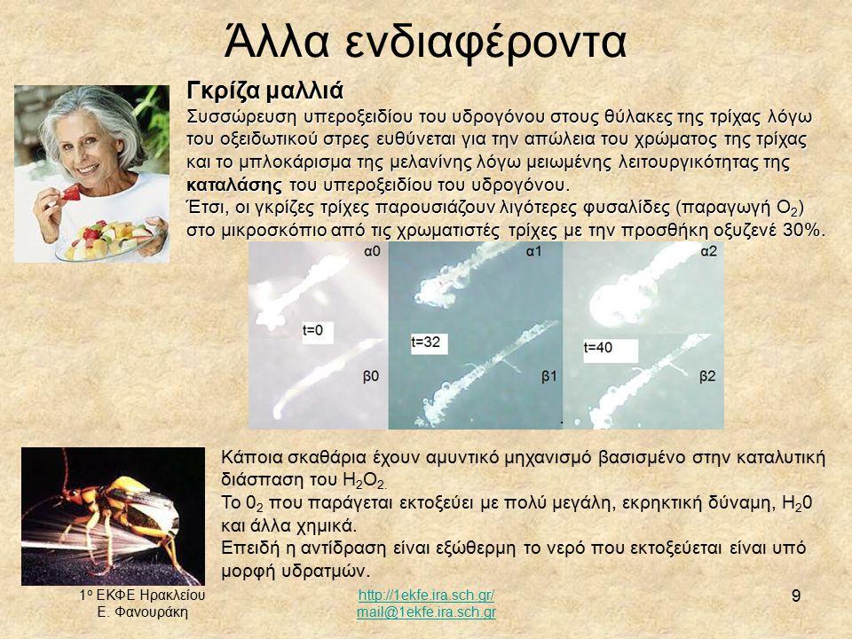 1 ο ΕΚΦΕ Ηρακλείου Ε. Φανουράκη http://1ekfe.ira.sch.gr/ mail@1ekfe.ira.sch.gr 9 Άλλα ενδιαφέροντα Γκρίζα μαλλιά Συσσώρευση υπεροξειδίου του υδρογόνου