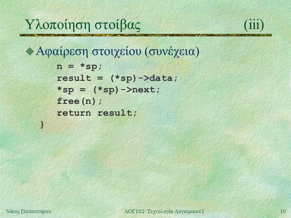 10Νίκος ΠαπασπύρουΛΟΓ102: Τεχνολογία Λογισμικού Ι Υλοποίηση στοίβας(iii) u Αφαίρεση στοιχείου (συνέχεια) n = *sp; result = (*sp)->data; *sp = (*sp)->next; free(n); return result; }