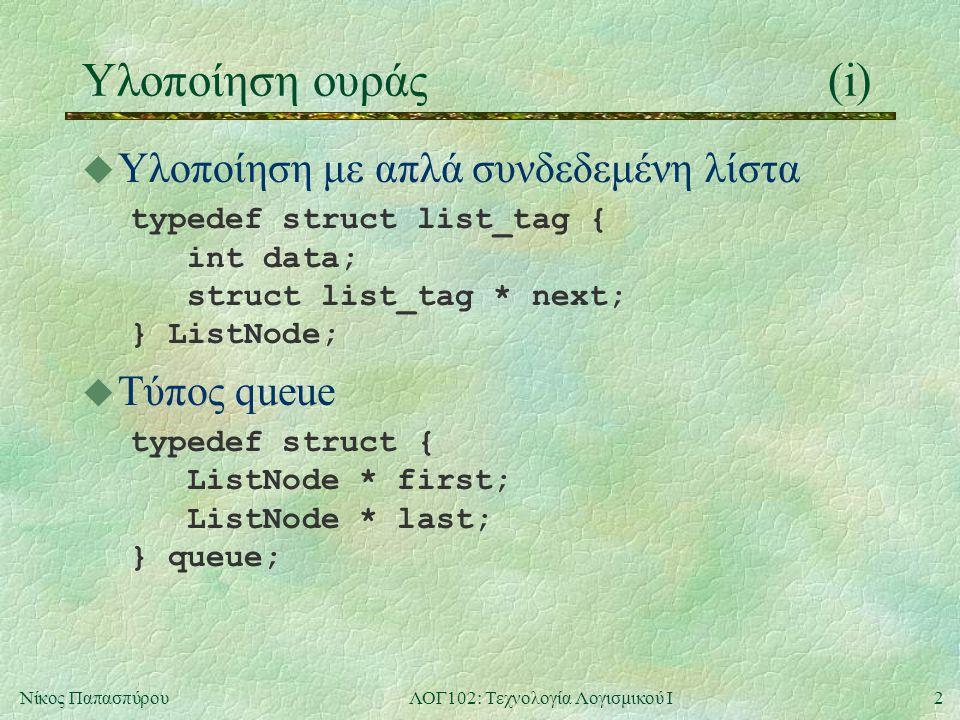 2Νίκος ΠαπασπύρουΛΟΓ102: Τεχνολογία Λογισμικού Ι Υλοποίηση ουράς(i) u Υλοποίηση με απλά συνδεδεμένη λίστα typedef struct list_tag { int data; struct list_tag * next; } ListNode; u Τύπος queue typedef struct { ListNode * first; ListNode * last; } queue;