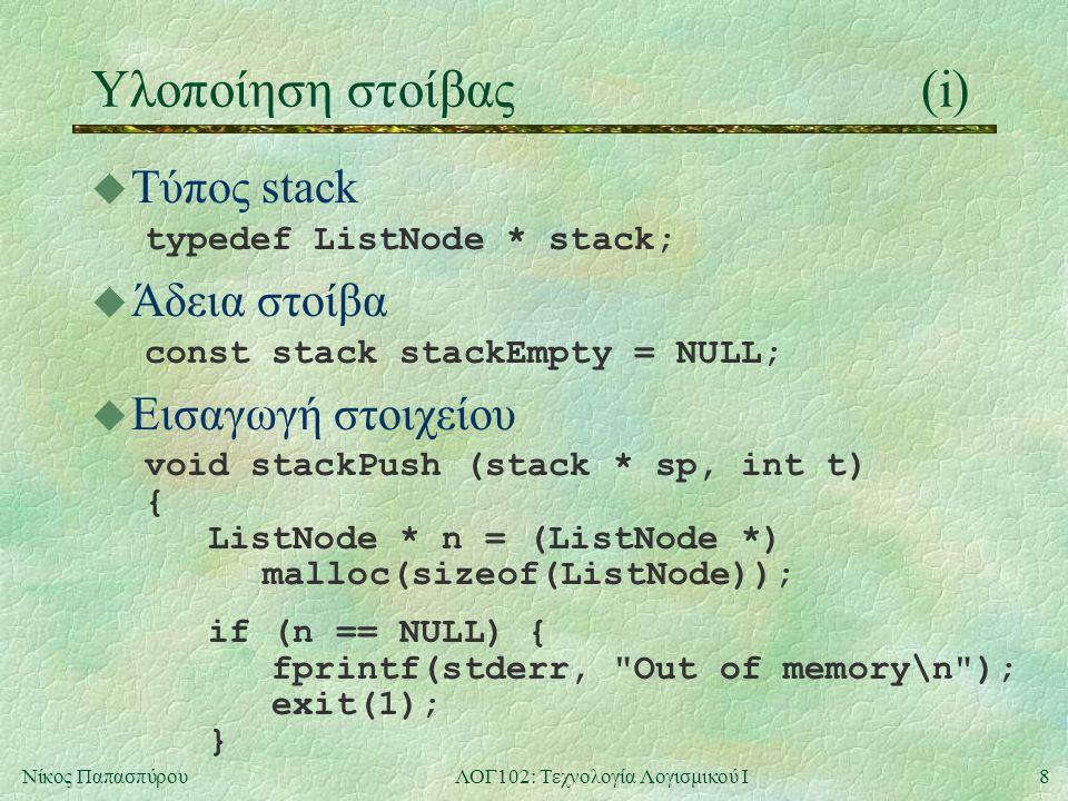 9Νίκος ΠαπασπύρουΛΟΓ102: Τεχνολογία Λογισμικού Ι Υλοποίηση στοίβας(ii) u Εισαγωγή στοιχείου (συνέχεια) n->data = t; n->next = *sp; *sp = n; } u Αφαίρεση στοιχείου int stackPop (stack * sp) { ListNode * n; int result; if (*sp == NULL) { fprintf(stderr, Nothing to remove from an empty stack\n ); exit(1); }