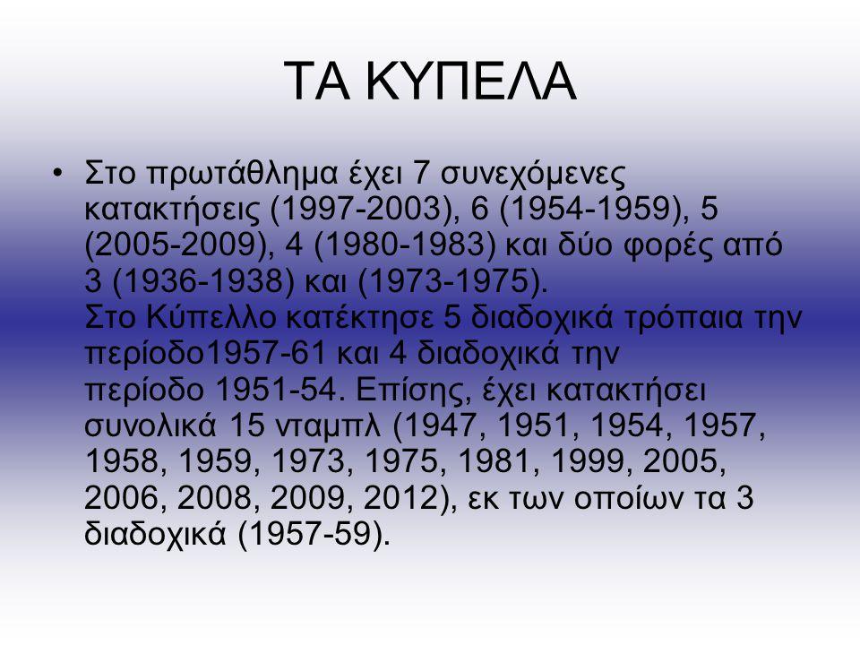ΤΑ ΚΥΠΕΛΑ Στο πρωτάθλημα έχει 7 συνεχόμενες κατακτήσεις (1997-2003), 6 (1954-1959), 5 (2005-2009), 4 (1980-1983) και δύο φορές από 3 (1936-1938) και (1973-1975).