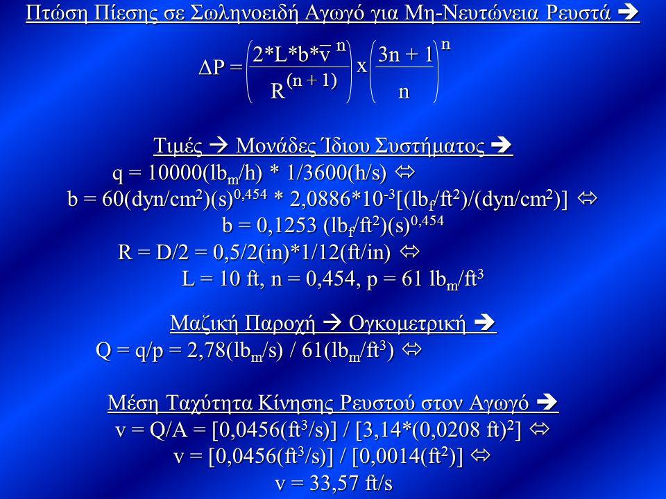 Πτώση Πίεσης σε Σωληνοειδή Αγωγό για Μη-Νευτώνεια Ρευστά  Τιμές  Μονάδες Ίδιου Συστήματος  q = 10000(lb m /h) * 1/3600(h/s)  q = 10000(lb m /h) *