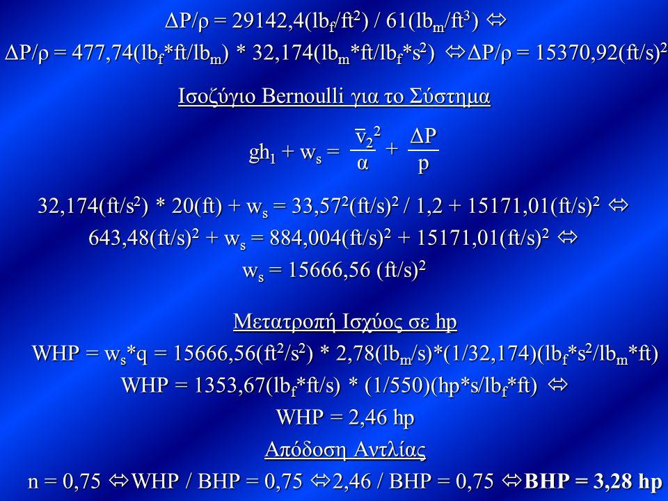 ΔΡ/ρ = 29142,4(lb f /ft 2 ) / 61(lb m /ft 3 )  ΔΡ/ρ = 477,74(lb f *ft/lb m ) * 32,174(lb m *ft/lb f *s 2 )  ΔΡ/ρ = 15370,92(ft/s) 2 gh 1 gh 1 + w s