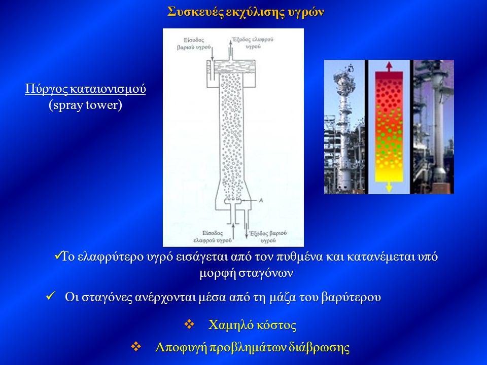 Συσκευές εκχύλισης υγρών Πύργος καταιονισμού (spray tower) Το ελαφρύτερο υγρό εισάγεται από τον πυθμένα και κατανέμεται υπό μορφή σταγόνων Το ελαφρύτε