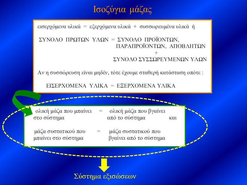 Ισοζύγια μάζας Σύστημα εξισώσεων