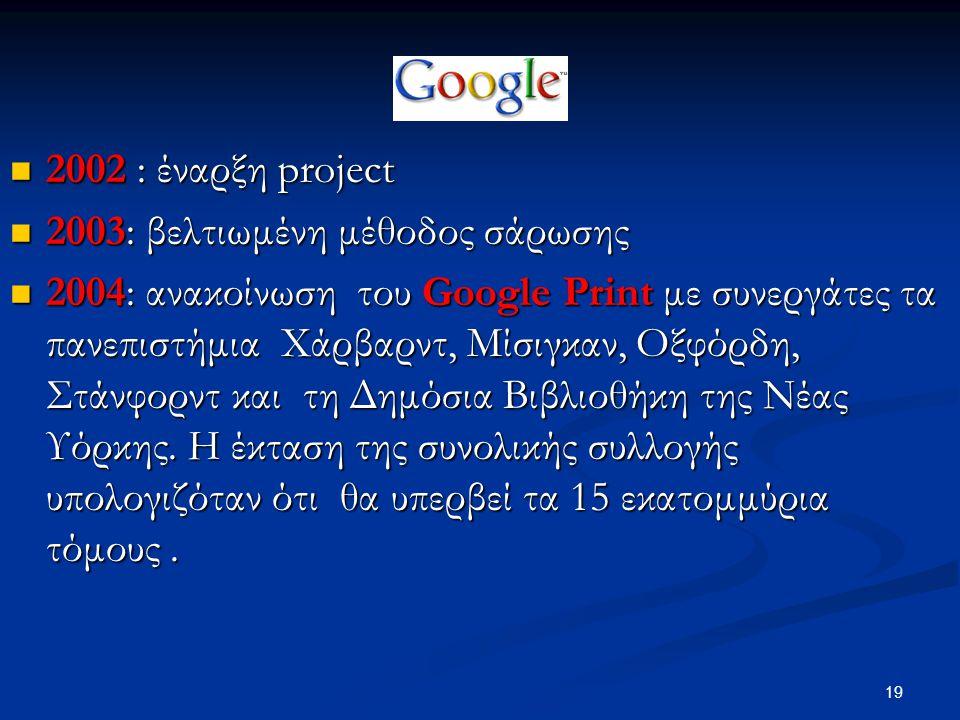 19 2002 : έναρξη project 2002 : έναρξη project 2003: βελτιωμένη μέθοδος σάρωσης 2003: βελτιωμένη μέθοδος σάρωσης 2004: ανακοίνωση του Google Print με συνεργάτες τα πανεπιστήμια Χάρβαρντ, Μίσιγκαν, Οξφόρδη, Στάνφορντ και τη Δημόσια Βιβλιοθήκη της Νέας Υόρκης.
