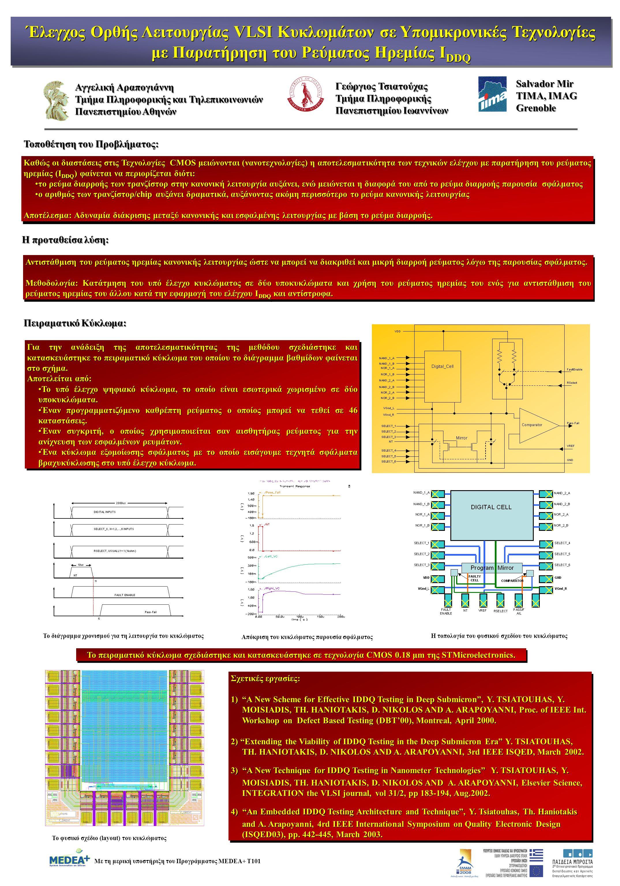 Έλεγχος Ορθής Λειτουργίας VLSI Κυκλωμάτων σε Υπομικρονικές Τεχνολογίες με Παρατήρηση του Ρεύματος Ηρεμίας I DDQ Έλεγχος Ορθής Λειτουργίας VLSI Κυκλωμάτων σε Υπομικρονικές Τεχνολογίες με Παρατήρηση του Ρεύματος Ηρεμίας I DDQ Τοποθέτηση του Προβλήματος: Καθώς οι διαστάσεις στις Τεχνολογίες CMOS μειώνονται (νανοτεχνολογίες) η αποτελεσματικότητα των τεχνικών ελέγχου με παρατήρηση του ρεύματος ηρεμίας (I DDQ ) φαίνεται να περιορίζεται διότι: το ρεύμα διαρροής των τρανζίστορ στην κανονική λειτουργία αυξάνει, ενώ μειώνεται η διαφορά του από το ρεύμα διαρροής παρουσία σφάλματοςτο ρεύμα διαρροής των τρανζίστορ στην κανονική λειτουργία αυξάνει, ενώ μειώνεται η διαφορά του από το ρεύμα διαρροής παρουσία σφάλματος ο αριθμός των τρανζίστορ/chip αυξάνει δραματικά, αυξάνοντας ακόμη περισσότερο το ρεύμα κανονικής λειτουργίαςο αριθμός των τρανζίστορ/chip αυξάνει δραματικά, αυξάνοντας ακόμη περισσότερο το ρεύμα κανονικής λειτουργίας Αποτέλεσμα: Αδυναμία διάκρισης μεταξύ κανονικής και εσφαλμένης λειτουργίας με βάση το ρεύμα διαρροής.