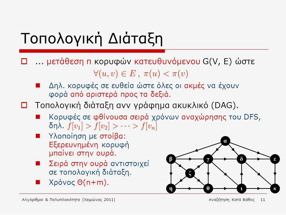 Αλγόριθμοι & Πολυπλοκότητα (Χειμώνας 2011)Αναζήτηση Κατά Βάθος 11 Τοπολογική Διάταξη ...