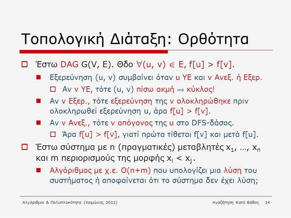 Αλγόριθμοι & Πολυπλοκότητα (Χειμώνας 2011)Αναζήτηση Κατά Βάθος 14 Τοπολογική Διάταξη: Ορθότητα  Έστω DAG G(V, E).