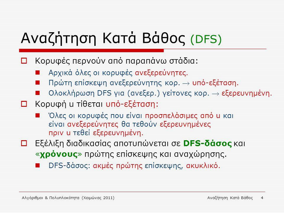 Αλγόριθμοι & Πολυπλοκότητα (Χειμώνας 2011)Αναζήτηση Κατά Βάθος 4 Αναζήτηση Κατά Βάθος (DFS)  Κορυφές περνούν από παραπάνω στάδια: Αρχικά όλες οι κορυφές ανεξερεύνητες.