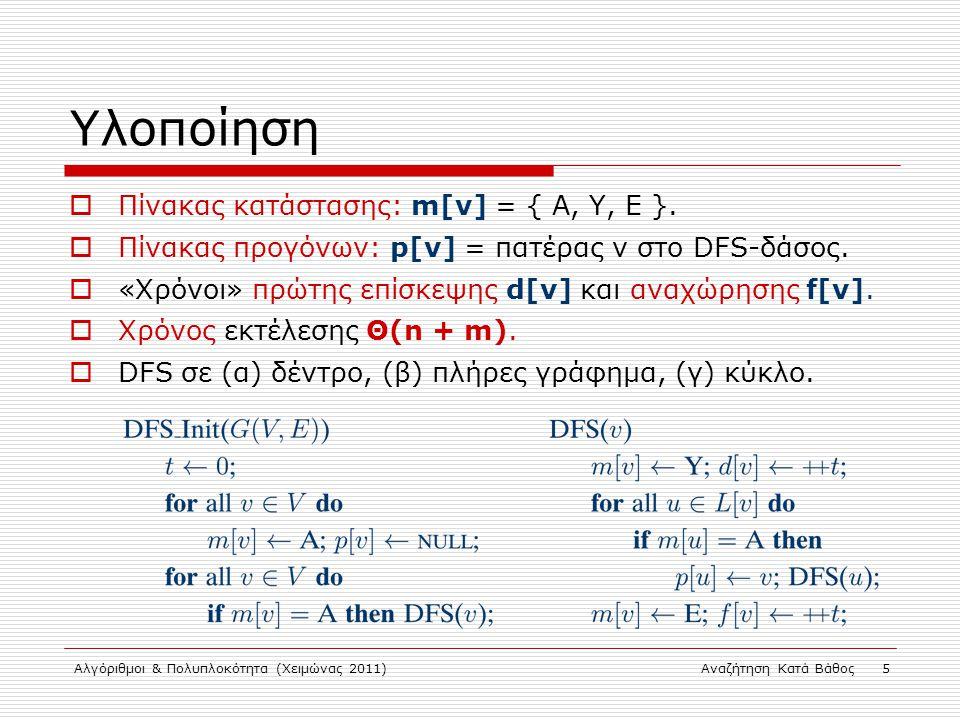 Αλγόριθμοι & Πολυπλοκότητα (Χειμώνας 2011)Αναζήτηση Κατά Βάθος 5 Υλοποίηση  Πίνακας κατάστασης: m[v] = { A, Y, E }.