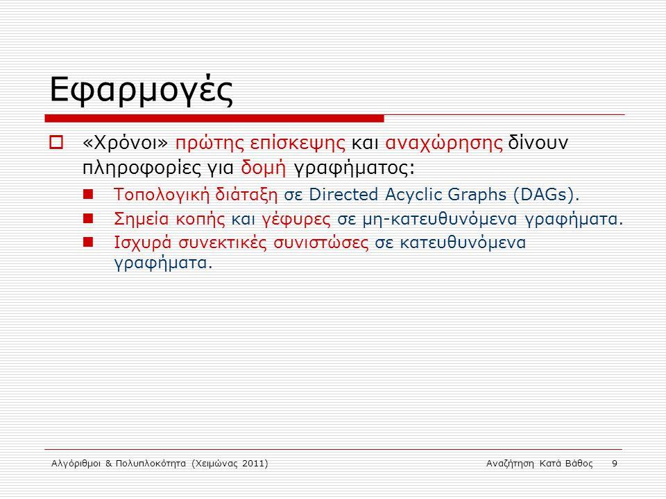 Αλγόριθμοι & Πολυπλοκότητα (Χειμώνας 2011)Αναζήτηση Κατά Βάθος 9 Εφαρμογές  «Χρόνοι» πρώτης επίσκεψης και αναχώρησης δίνουν πληροφορίες για δομή γραφήματος: Τοπολογική διάταξη σε Directed Acyclic Graphs (DAGs).