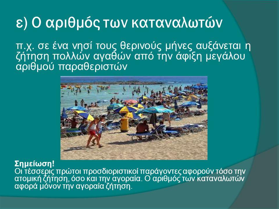 ε) Ο αριθμός των καταναλωτών π.χ. σε ένα νησί τους θερινούς μήνες αυξάνεται η ζήτηση πολλών αγαθών από την άφιξη μεγάλου αριθμού παραθεριστών Σημείωση