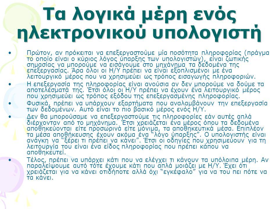 ΠΕΡΙΦΕΡΕΙΑΚΕΣ ΜΟΝΑΔΕΣ Μονάδες εισόδου :Μονάδες εξόδου : Ø Οθόνη: Χωρίς αυτή δεν θα μπορούσατε να διαβάζετε αυτό το κείμενο.