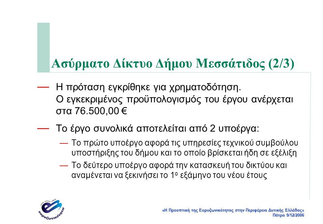 «Η Προοπτική της Ευρυζωνικότητας στην Περιφέρεια Δυτικής Ελλάδας» Πάτρα 9/12/2006 Ασύρματο Δίκτυο Δήμου Μεσσάτιδος (2/3) — Η πρόταση εγκρίθηκε για χρηματοδότηση.