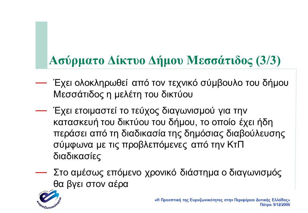 «Η Προοπτική της Ευρυζωνικότητας στην Περιφέρεια Δυτικής Ελλάδας» Πάτρα 9/12/2006 Ασύρματο Δίκτυο Δήμου Μεσσάτιδος (3/3) — Έχει ολοκληρωθεί από τον τεχνικό σύμβουλο του δήμου Μεσσάτιδος η μελέτη του δικτύου — Έχει ετοιμαστεί το τεύχος διαγωνισμού για την κατασκευή του δικτύου του δήμου, το οποίο έχει ήδη περάσει από τη διαδικασία της δημόσιας διαβούλευσης σύμφωνα με τις προβλεπόμενες από την ΚτΠ διαδικασίες — Στο αμέσως επόμενο χρονικό διάστημα ο διαγωνισμός θα βγει στον αέρα