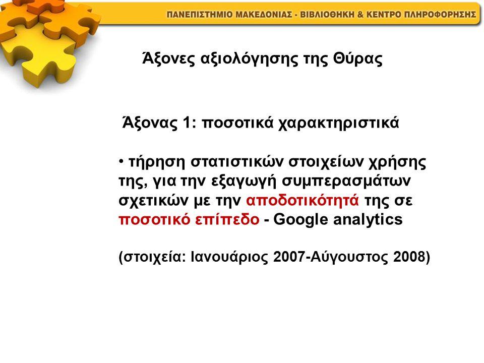 Άξονας 1: ποσοτικά χαρακτηριστικά τήρηση στατιστικών στοιχείων χρήσης της, για την εξαγωγή συμπερασμάτων σχετικών με την αποδοτικότητά της σε ποσοτικό επίπεδο - Google analytics (στοιχεία: Ιανουάριος 2007-Αύγουστος 2008) Άξονες αξιολόγησης της Θύρας