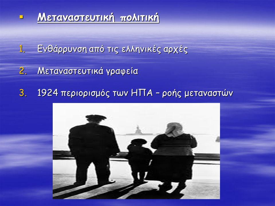  Μεταναστευτική πολιτική 1.Ενθάρρυνση από τις ελληνικές αρχές 2.Μεταναστευτικά γραφεία 3.1924 περιορισμός των ΗΠΑ – ροής μεταναστών