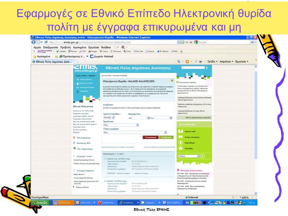Εθνική Πύλη ΕΡΜΗΣ Εφαρμογές σε Εθνικό Επίπεδο Ηλεκτρονική θυρίδα πολίτη με έγγραφα επικυρωμένα και μη