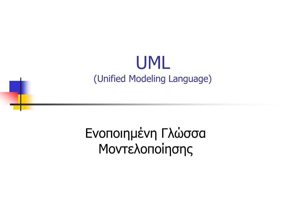UML (Unified Modeling Language) Ενοποιημένη Γλώσσα Μοντελοποίησης