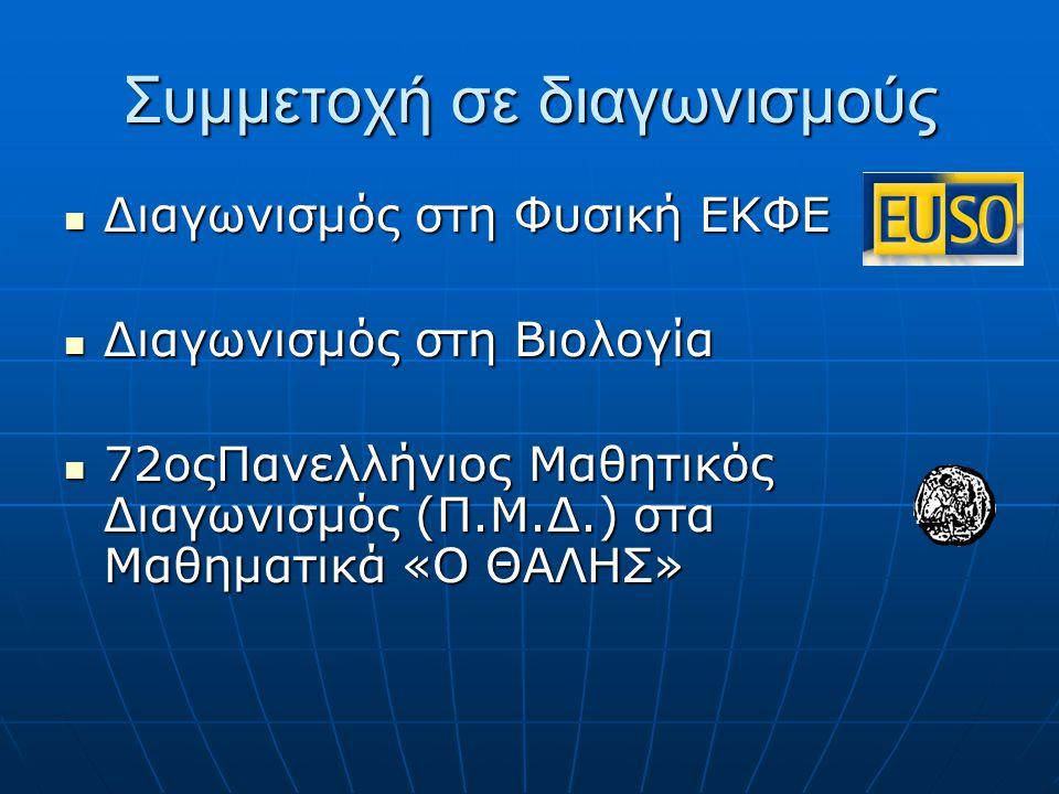 Συμμετοχή σε διαγωνισμούς Διαγωνισμός στη Φυσική ΕΚΦΕ Διαγωνισμός στη Φυσική ΕΚΦΕ Διαγωνισμός στη Βιολογία Διαγωνισμός στη Βιολογία 72οςΠανελλήνιος Μα