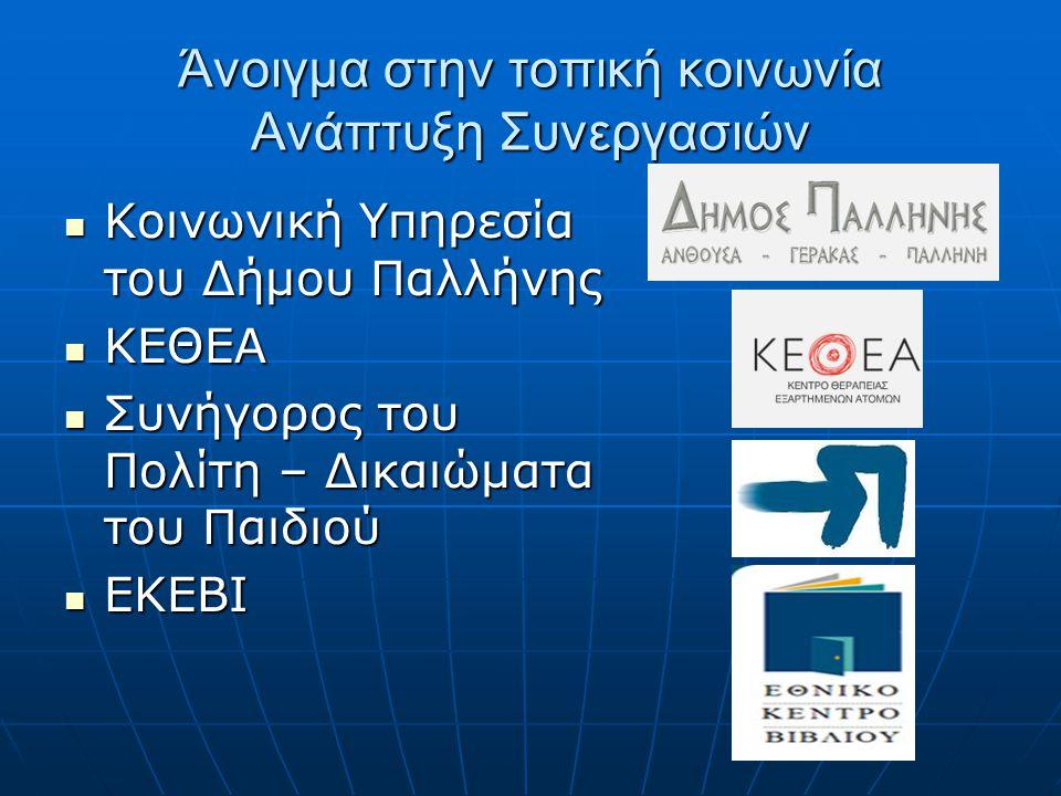 Άνοιγμα στην τοπική κοινωνία Ανάπτυξη Συνεργασιών Κοινωνική Υπηρεσία του Δήμου Παλλήνης Κοινωνική Υπηρεσία του Δήμου Παλλήνης ΚΕΘΕΑ ΚΕΘΕΑ Συνήγορος το