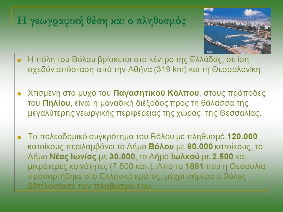 Η γεωγραφική θέση και ο πληθυσμός Η πόλη του Βόλου βρίσκεται στο κέντρο της Ελλάδας, σε ίση σχεδόν απόσταση από την Αθήνα (319 km) και τη Θεσσαλονίκη.