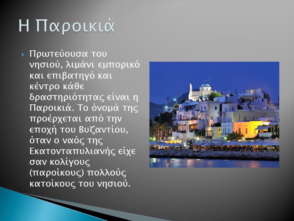  Πρωτεύουσα του νησιού, λιμάνι εμπορικό και επιβατηγό και κέντρο κάθε δραστηριότητας είναι η Παροικιά.
