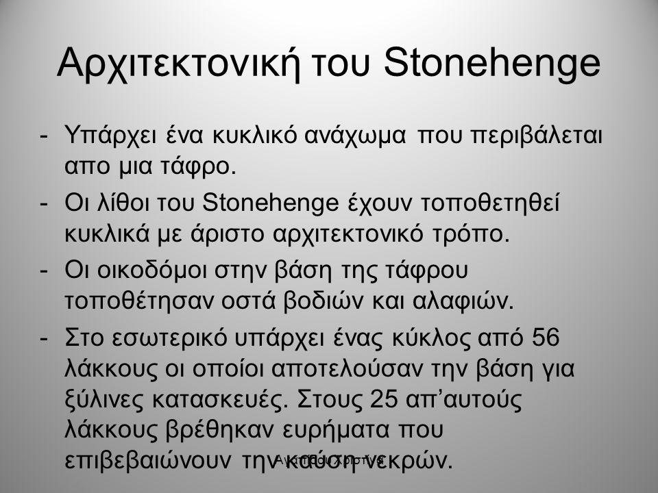 Αγαπίδου Χριστίνα Αρχιτεκτονική του Stonehenge -Υπάρχει ένα κυκλικό ανάχωμα που περιβάλεται απο μια τάφρο. -Οι λίθοι του Stonehenge έχουν τοποθετηθεί