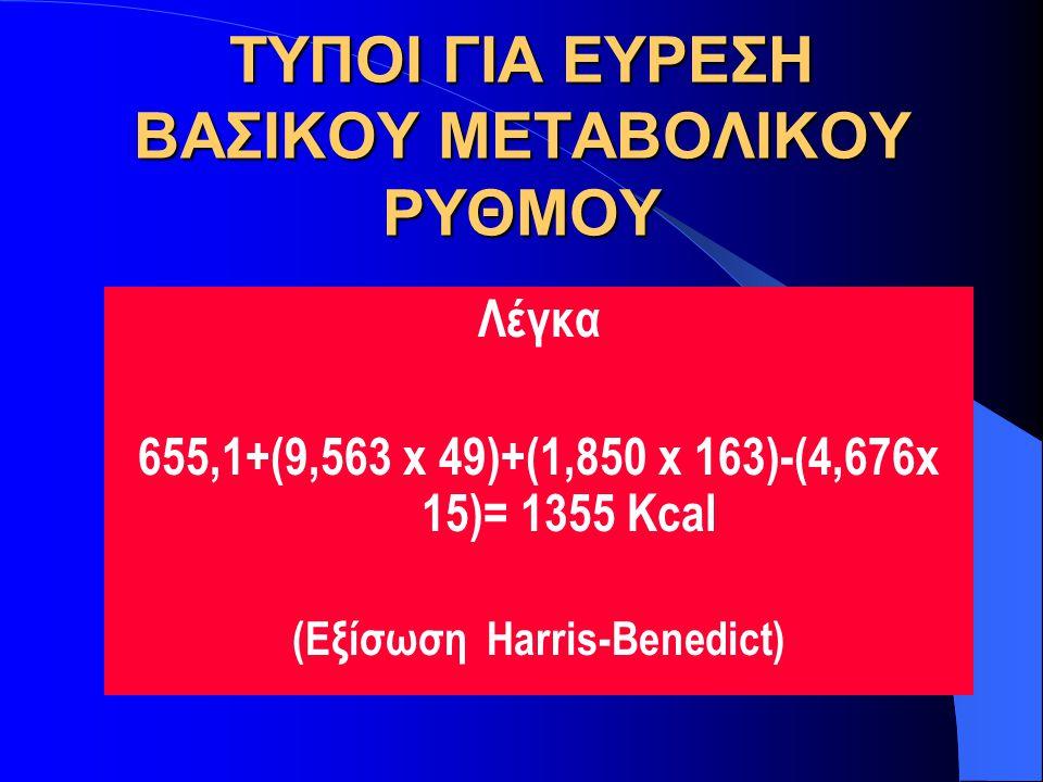 ΤΥΠΟΙ ΓΙΑ ΕΥΡΕΣΗ ΒΑΣΙΚΟΥ ΜΕΤΑΒΟΛΙΚΟΥ ΡΥΘΜΟΥ ΓΥΝΑΙΚΕΣ 655.1+(9.563 x βάρος σε κιλά)+(1.850 x ύψος σε cm)-(4,676 x ηλικία σε χρόνια) (Εξίσωση Harris-Ben
