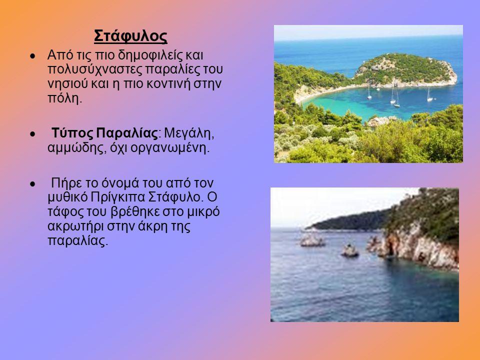 Στάφυλος  Από τις πιο δημοφιλείς και πολυσύχναστες παραλίες του νησιού και η πιο κοντινή στην πόλη.  Τύπος Παραλίας: Μεγάλη, αμμώδης, όχι οργανωμένη