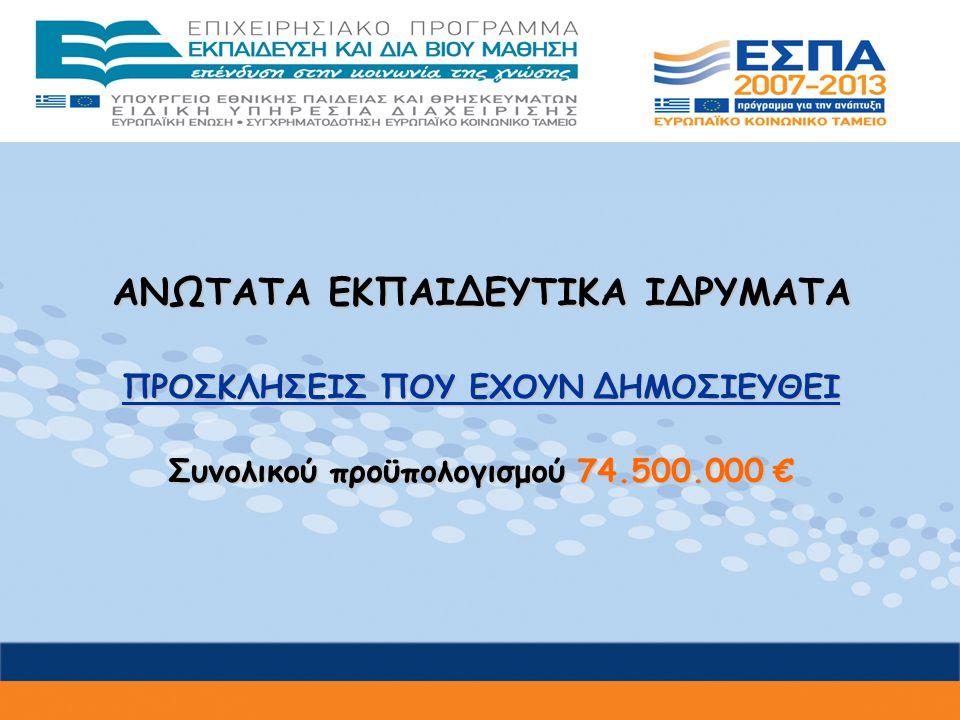 ΑΝΩΤΑΤΑ ΕΚΠΑΙΔΕΥΤΙΚΑ ΙΔΡΥΜΑΤΑ ΠΡΟΣΚΛΗΣΕΙΣ ΠΟΥ ΕΧΟΥΝ ΔΗΜΟΣΙΕΥΘΕΙ Συνολικού προϋπολογισμού 74.500.000 €