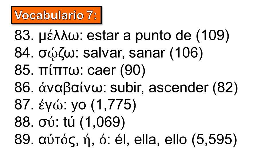 83. μ έ λλω: estar a punto de (109) 84. σ ῴ ζω: salvar, sanar (106) 85. π ί πτω: caer (90) 86. ἀ ναβα ί νω: subir, ascender (82) 87. ἐ γ ώ : yo (1,775