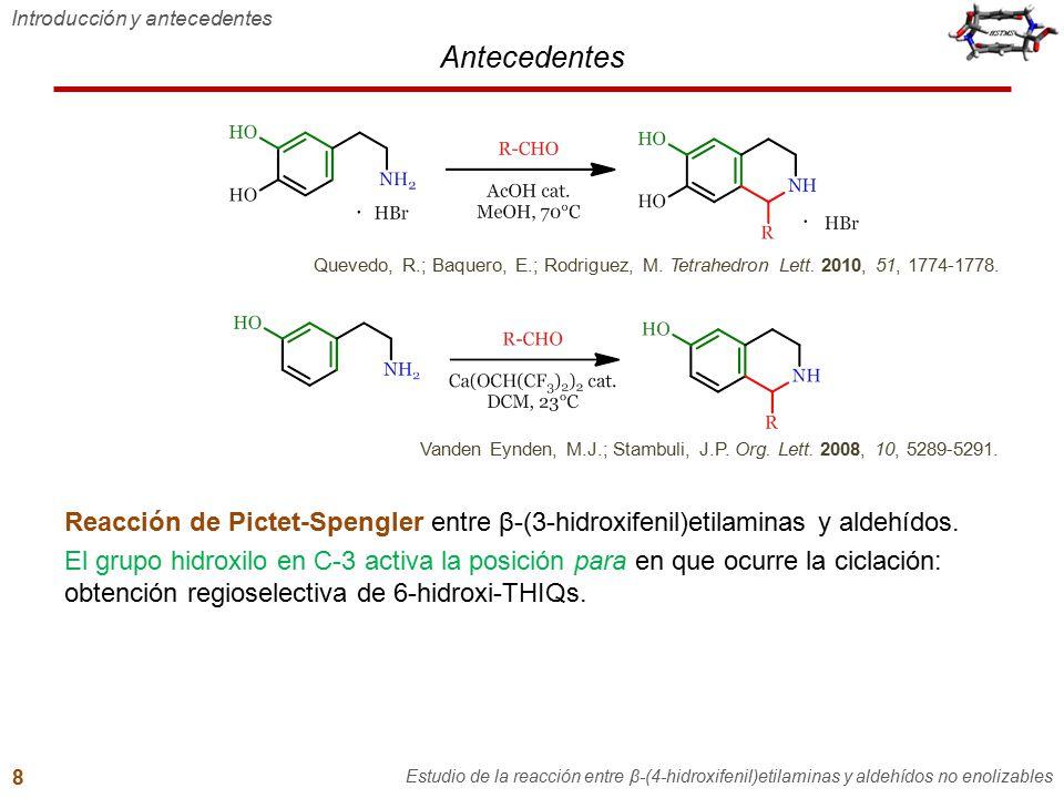 Antecedentes Introducción y antecedentes Estudio de la reacción entre β-(4-hidroxifenil)etilaminas y aldehídos no enolizables 8 Reacción de Pictet-Spe