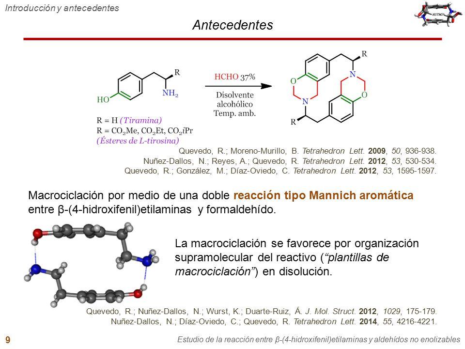 Antecedentes Introducción y antecedentes Estudio de la reacción entre β-(4-hidroxifenil)etilaminas y aldehídos no enolizables 9 Macrociclación por med