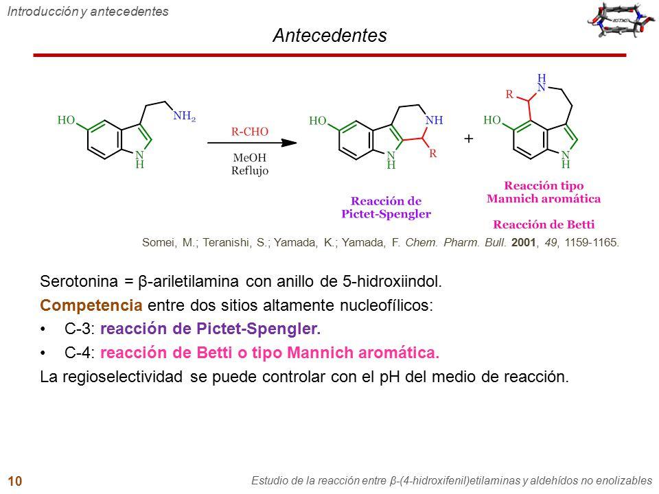 Antecedentes Introducción y antecedentes Estudio de la reacción entre β-(4-hidroxifenil)etilaminas y aldehídos no enolizables 10 Serotonina = β-arilet